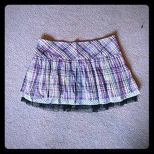 Pink plaid ruffle mini skirt